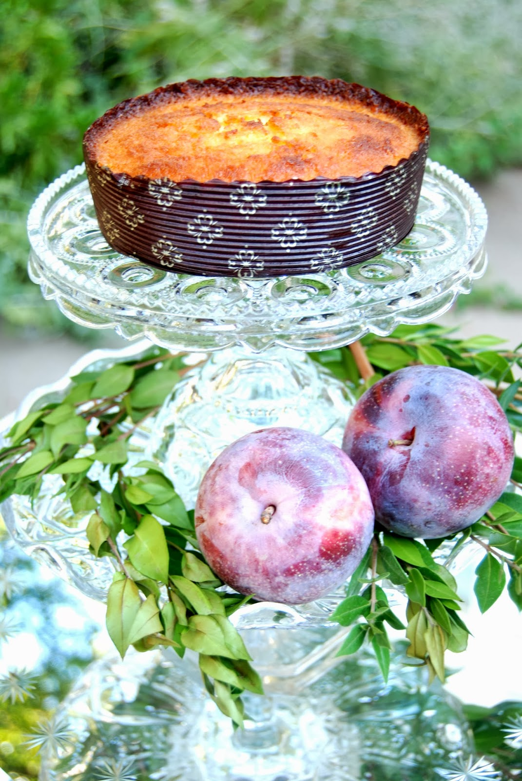 Antique Glass Compote with Cake and Plums