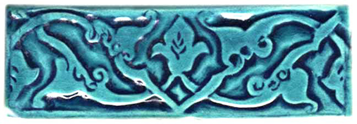 hand made art tile m=in moorish design and turquoise crackle glaze