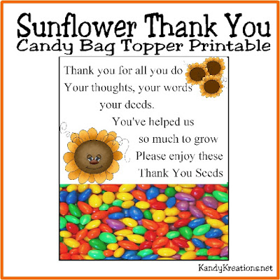 Say Thank You in a special sweet way to those friends who have gone above and beyond. This sunflower thank you candy bag topper is a perfect printable to give to your loved ones and friends.