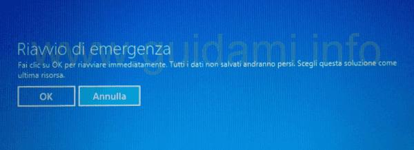 Riavvio di emergenza Windows 8