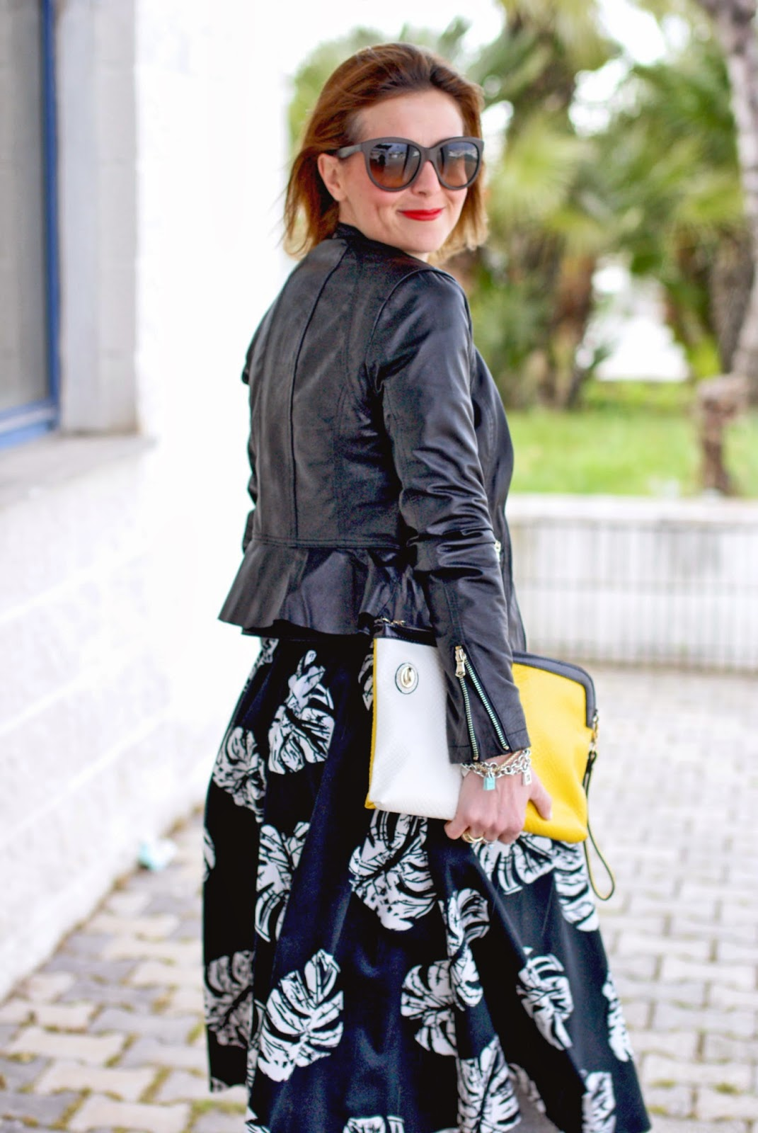 Asos leather jacket, leather peplum jacket, palm leaf print skirt, Loriblu heels, Fashion and Cookies, fashion blogger
