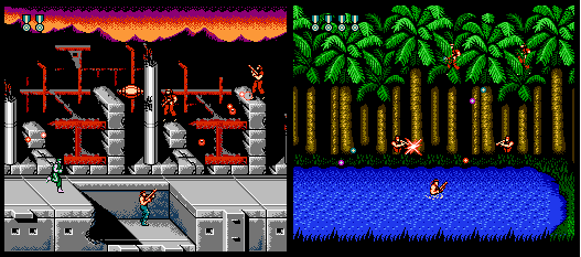 Screenshots of NES version of video game Super C