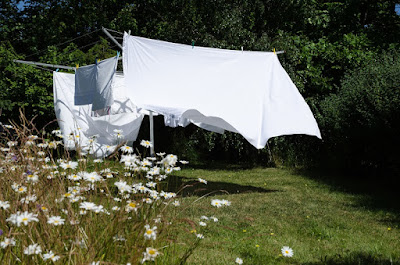 Linens drying on a clothesline