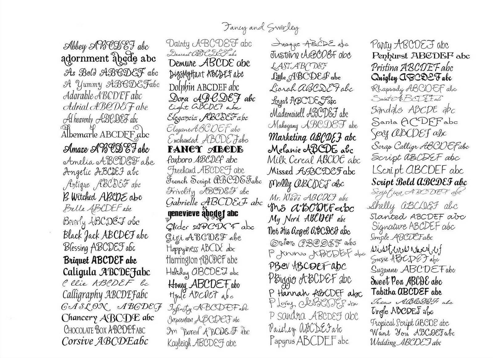 Image gallery handwriting fonts microsoft word