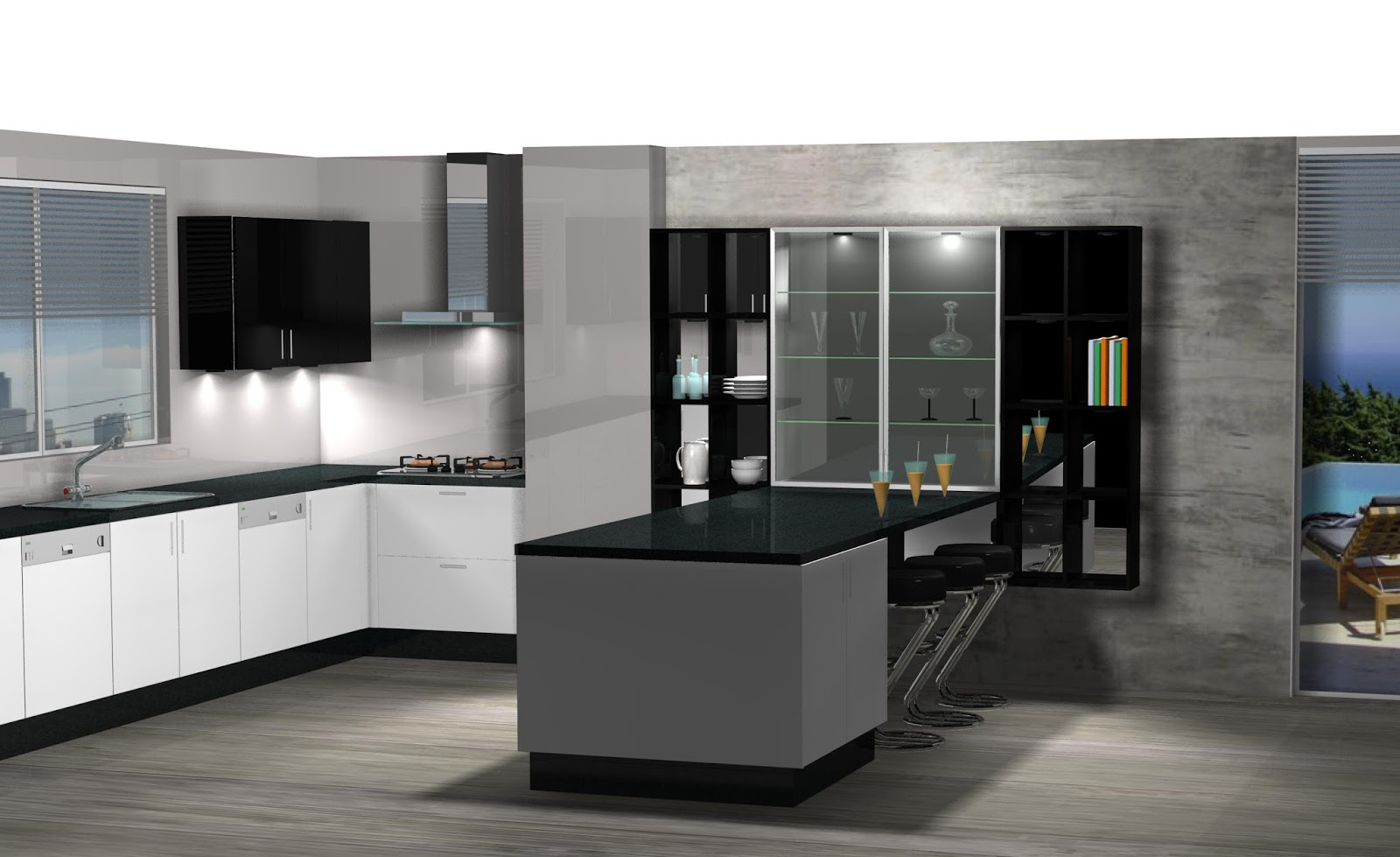 Diseño de cocina comedor lacado en blanco y negro.
