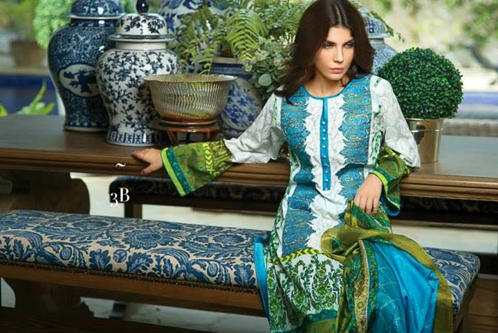 Sanasafinaz Lawn Eid Collection 2014 featuring Amna Babar