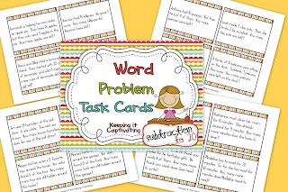 Word Problem Task Cards Subtraction 1-20