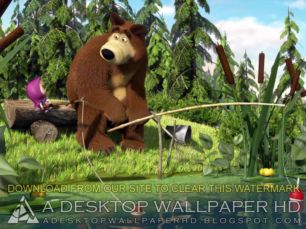 Masha And The Bear Fishing Cartoons Desktop Wallpaper HD  Desktop