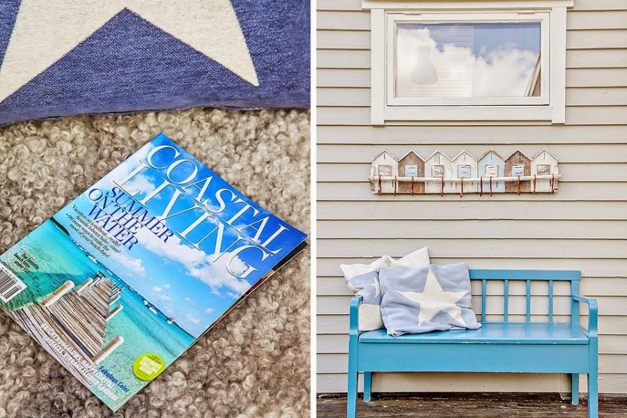 domek letniskowy, domek na wakacje, wakacyjny dom, białe wnętrza, gwiazda, gwiazdka, biała boazeria, weranda, taras, balkon, ławeczka, ławka