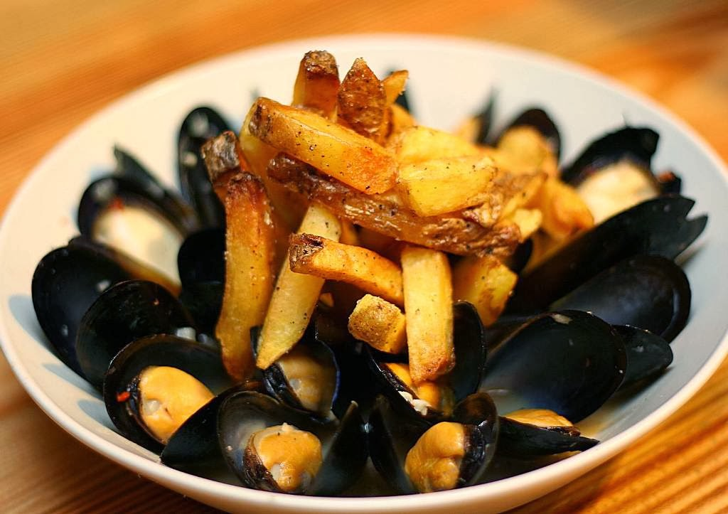 Mussels with Herb Beer Broth and Fries Main Street Canadian-American Restaurant at McKinley Hill