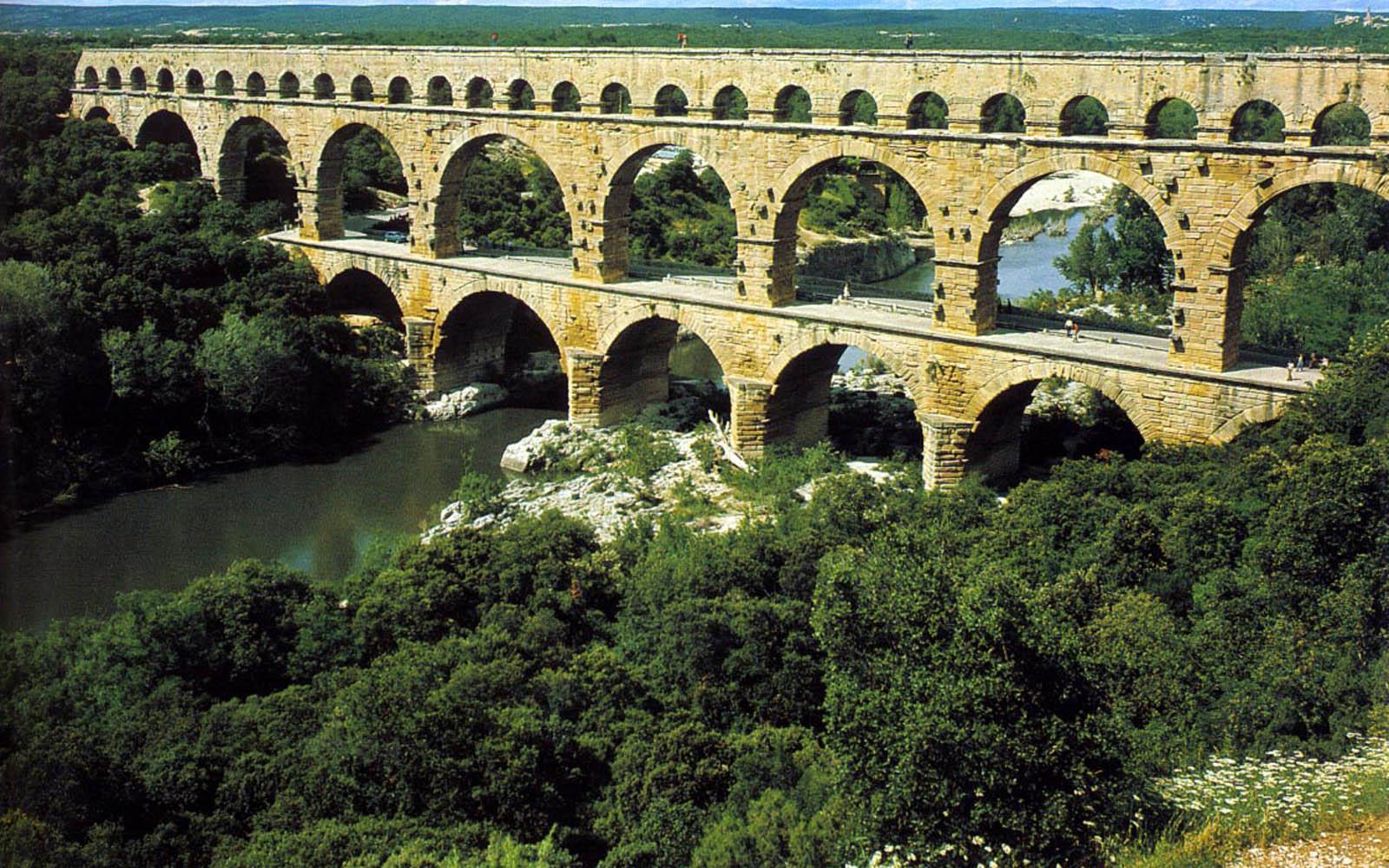 pont du gard roman aqueduct city wallpaper 8 jpg