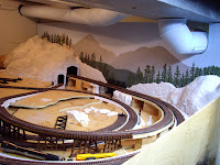 Model train layout with backdrop