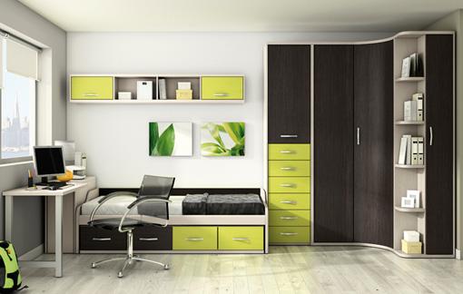 Dise os de dormitorios para adolescentes con mucho color for Dormitorios juveniles con armario esquinero