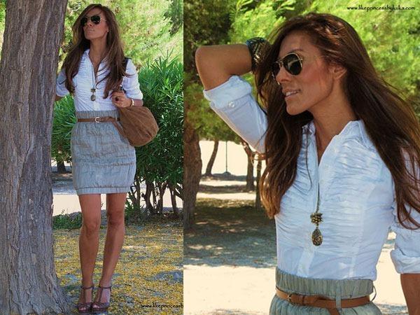 look camisa blanca y falda