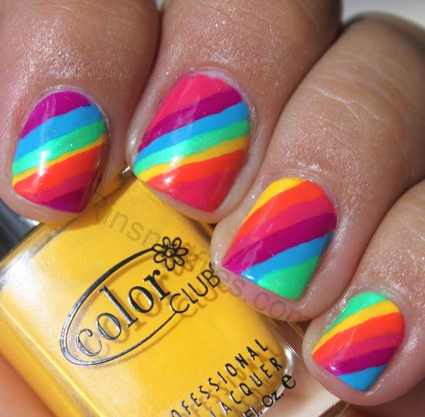 bright color nail design