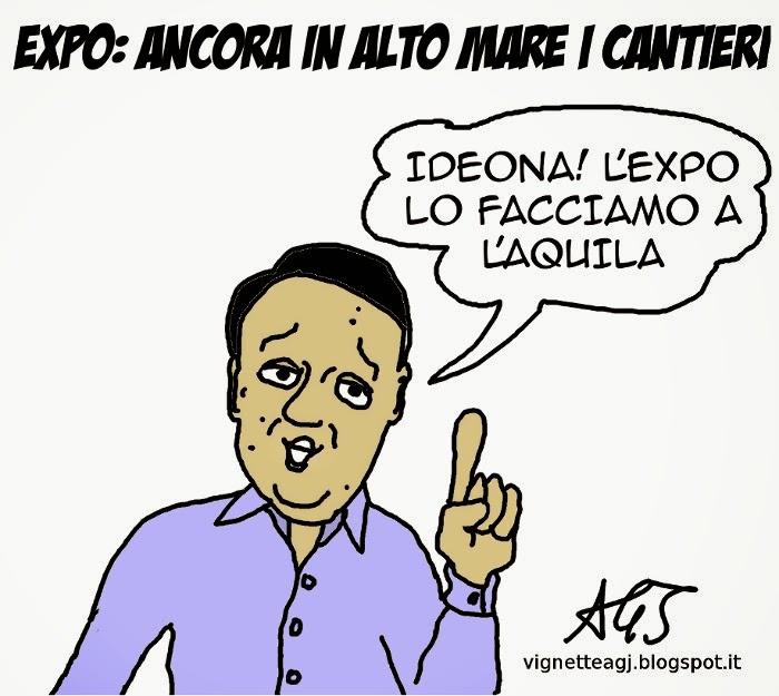 EXPO, Renzi, Cantieri, l'aquila, satira, vignetta