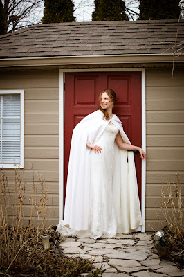 White Bridal Cape for Winter Wedding