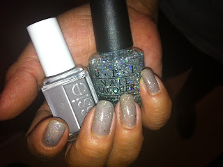essie+chinchilly+opi+servin+up+sparkle+5 Essie Chinchilly with OPI Servin Up Sparkle