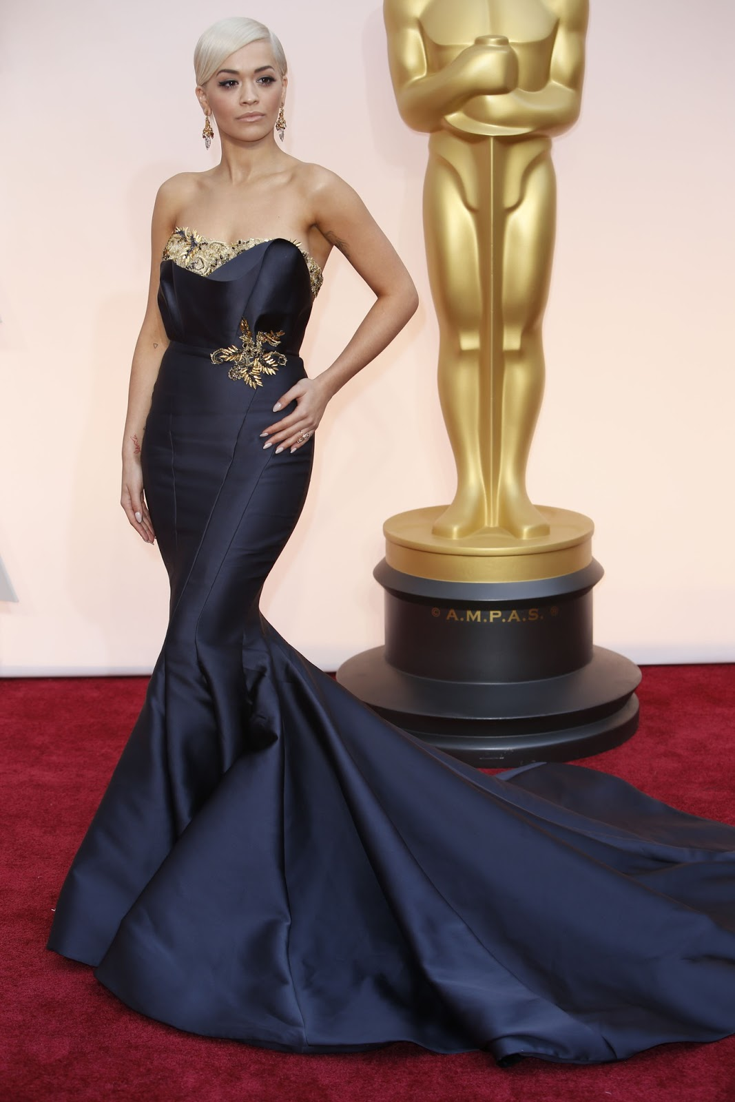 Rita Ora in Marchesa at the Oscars 2015
