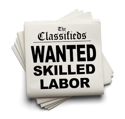 A newspaper classified ad in large print says, Wanted Skilled Labor