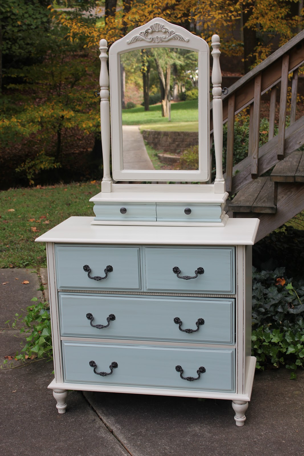 Sold Adorable Little Dresser With Mirror Went From A Drab Solid White To Shabby Chic Look Painted In My Favorite Pottery Barn Color Called Jute