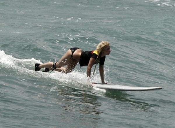 Lady GaGa - Bikini Candids  Surfing in Puerto Vallarta