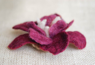 burgundy felted flower petals