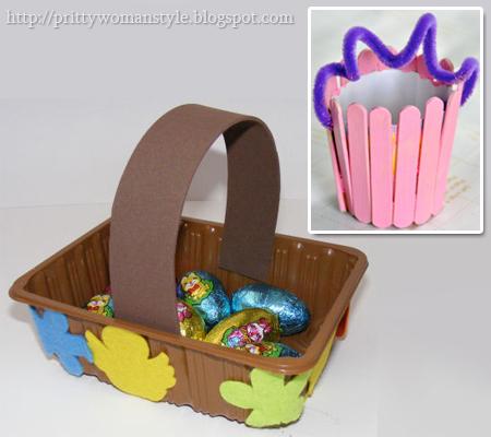 Голяма кошничка от пластмасова опаковка и малка кошничка от сладоледени клечки
