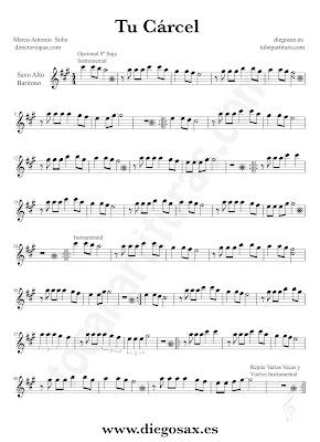 Tubepartitura Tu Cárcel partitura de Marco Antonio Solís de Saxofón Alto y Barítono canción de Pop - Rock
