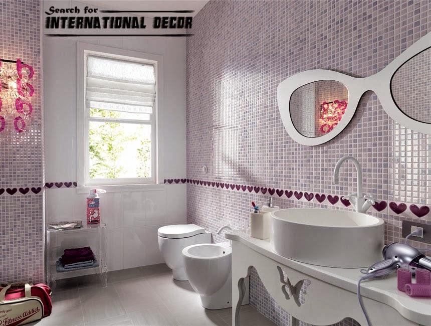 Top 15 chinese ceramic tile in the interior for Purple mosaic bathroom accessories