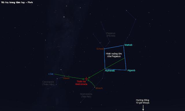 Tìm ra thiên hà Andromeda từ chòm sao Pegasus và Cassiopeia.