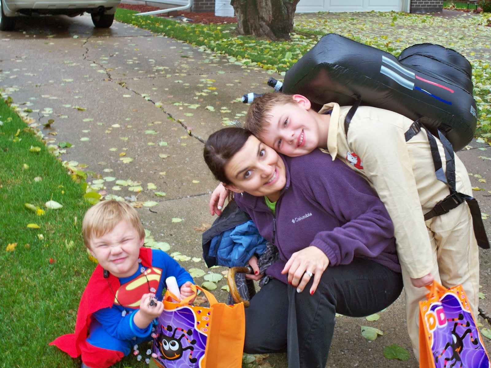 Halloween Superman, Mom & a Ghost Buster!