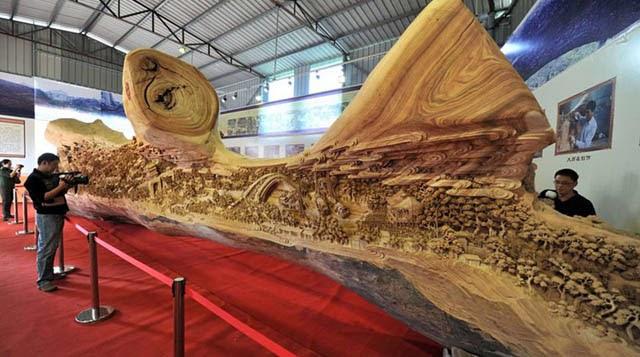 madera Zheng Chunhui obra maestra El festival Qingming junto al río