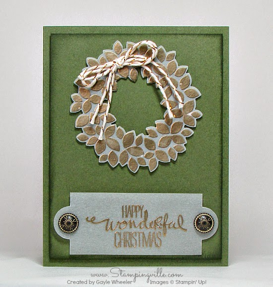 Stampin' Up! Wondrous Wreath Christmas Card | Stampingville #cardmaking #papercrafts #StampinUp