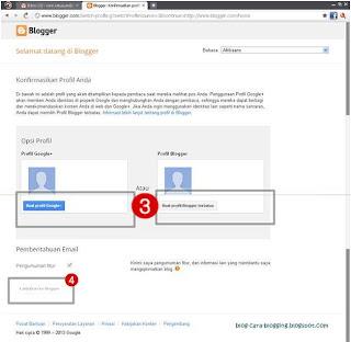 Cara Memilih Profil di Blogspot.