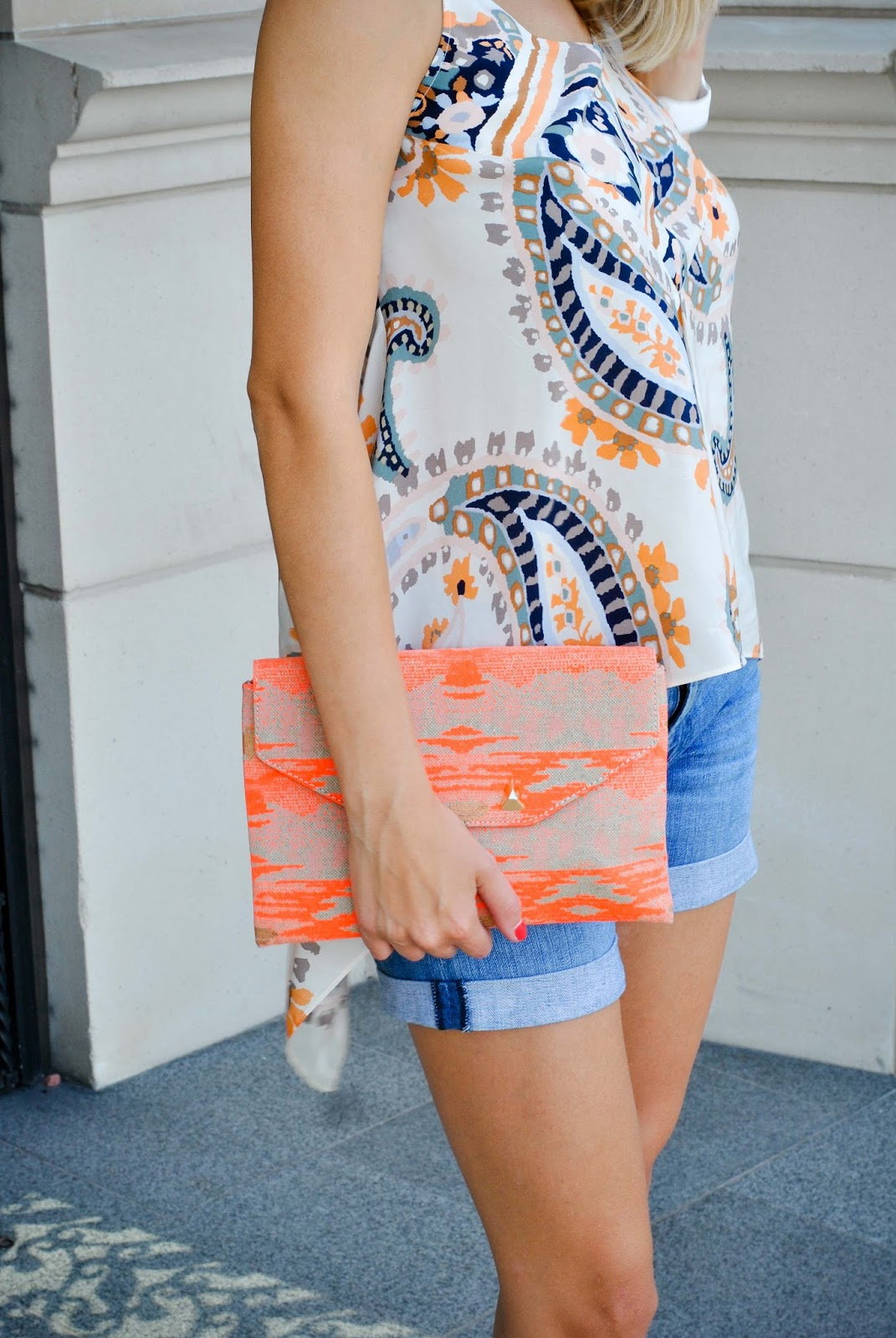 Stella & Dot Orange Clutch - The Chic Burrow