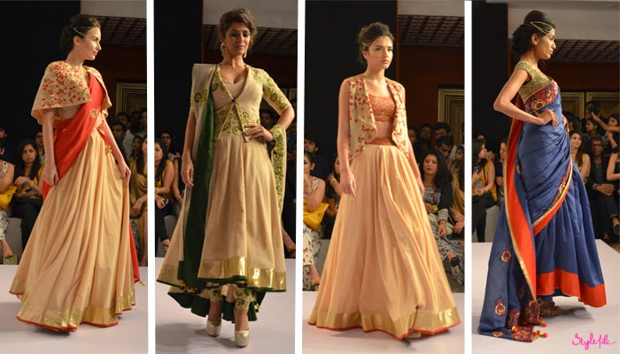 Models and showstopper Bollywood actor Nimrat Kaur showcase anarkalis, sarees and lehengas for designer Shilpa Reddy's collection at Lakme Fashion Week Summer Resort 2015 in Mumbai