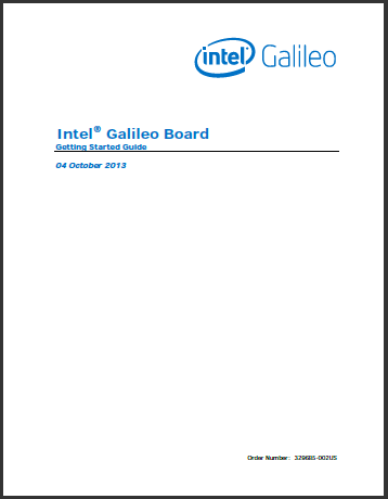 Intel Galileo Board Getting Started Guide