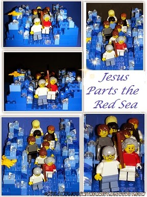 Jesus parts the Red Sea.  If you love Christian LEGO Creations pin this site it has lots of them.