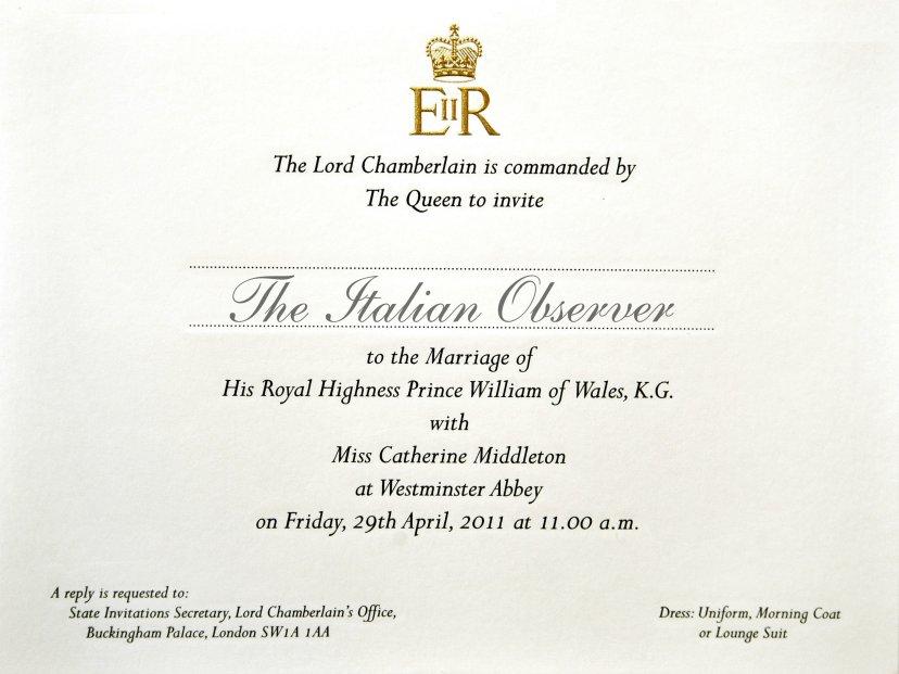 William kate and the italian observer ecco l 39 invito for Luogo di nozze con cabine