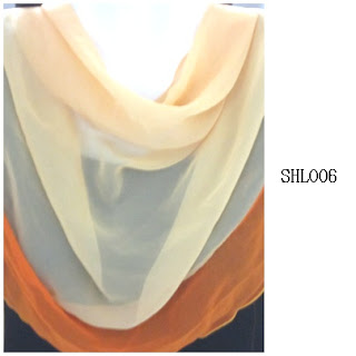 shawl halfmoon 2 layer cream peach