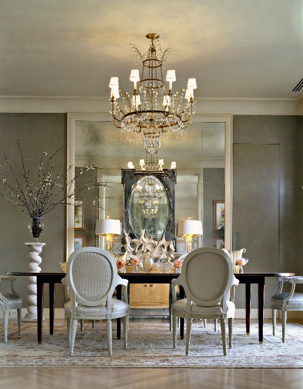 House post antique mirrors for White dining room decor