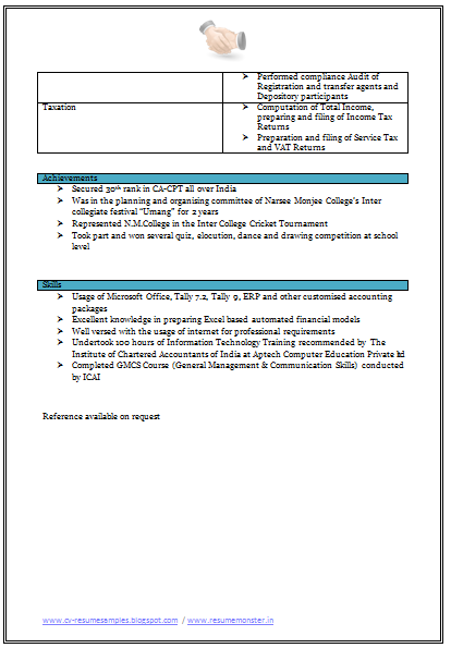 chartered accountant resume template