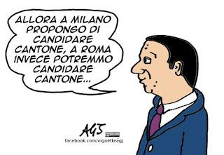 Renzi, Cantone, sindaci, Milano, Roma, vignetta satira