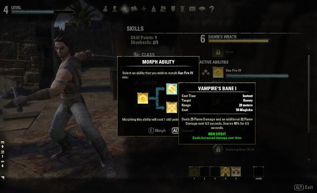 Elder Scrolls Online Vampire's Bane morph ability screen