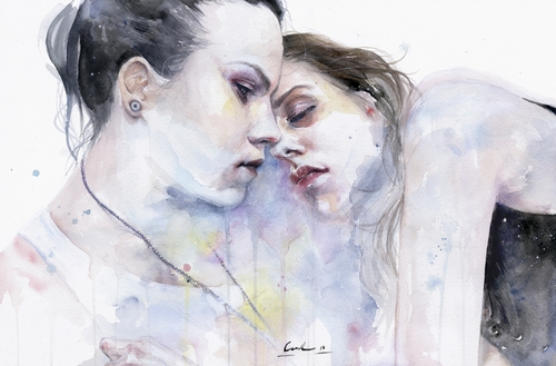 18-XX-Love-Silvia-Pelissero-agnes-cecile-Watercolor-and-Oil-Paintings-Fading-and-Appearing-www-designstack-co