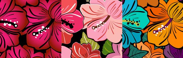 インパクトのある花のイラストがデザインされたパターン | 商用利用も可なフリーの花柄パターン素材