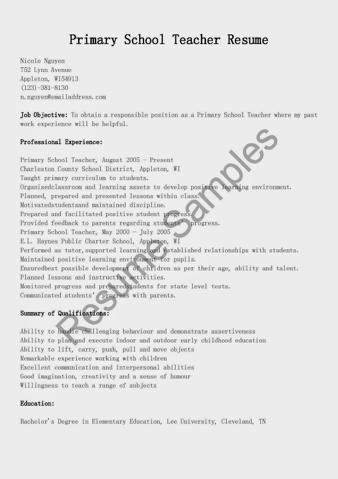 resume samples  primary school teacher resume sample