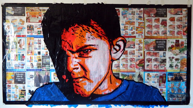 tape-art boy series portraits popart russian contemporary street paint
