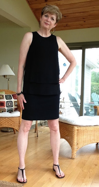black Rag and Bone tank, black Elie Tahari pencil skirt, Michael Kors sandals